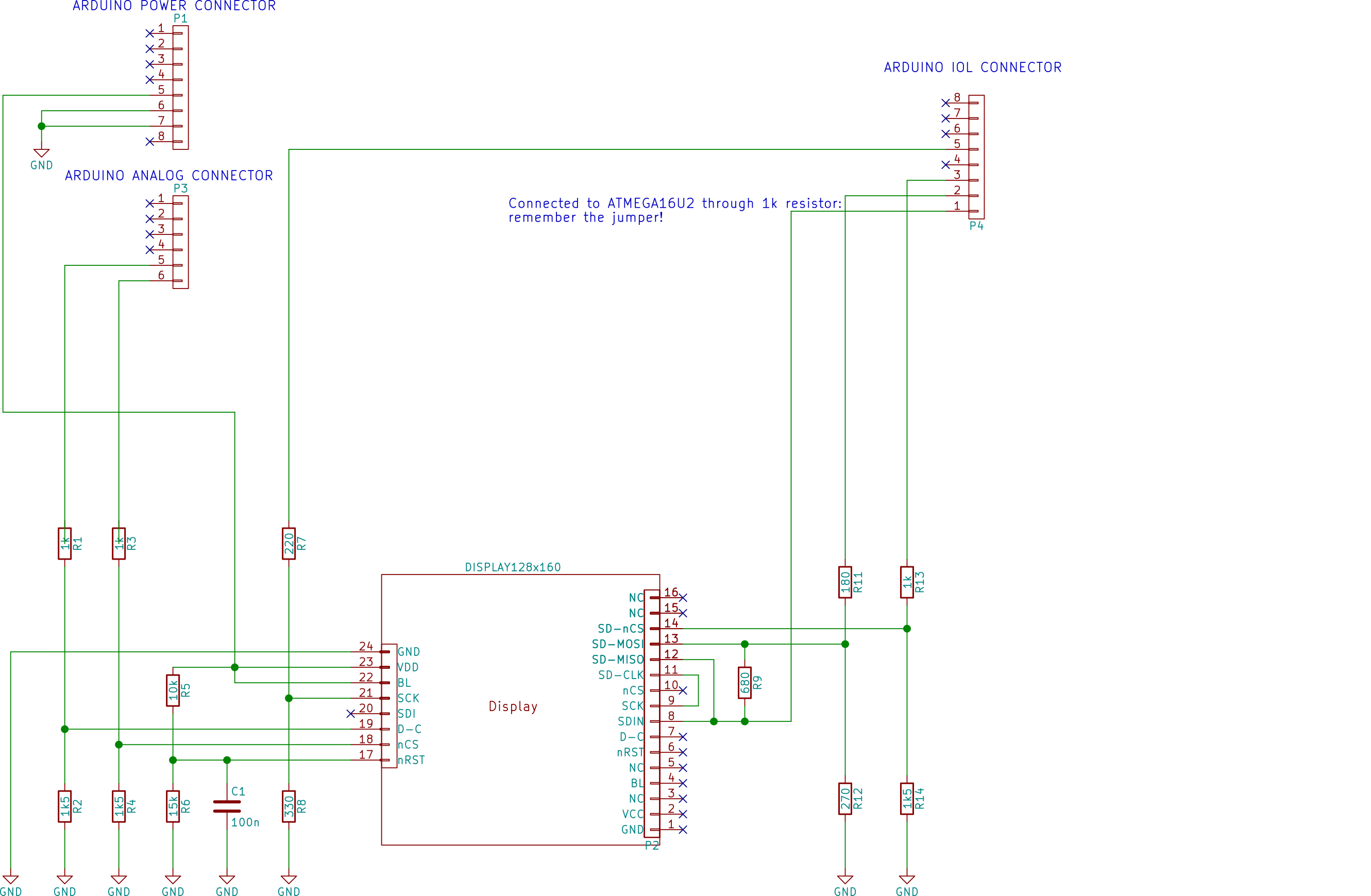 How To Play A Video On Arduino Uno 4 6 Playing 20 Fps Animation Wiring Diagram Moreover Sd Card Reader Fig 9 The Final Schematics With Resistor Values Please Note That Display Lines Sck Sdi D C Ncs Nrst Are Connected Both Connector