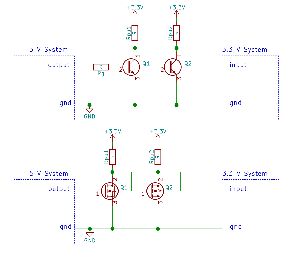 How To Interface A 5v Output 33v Input Voltage Divider Bias Circuit Of Bjt Two Or Mosfet Used As Buffer